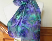 Purple and Green Cut Devore Satin Scarf, Hand Painted Silk Scarf, Ready to Ship - RosyDaysScarves