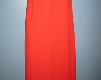 1960's Scarlet Red Maxi Skirt Double Knit Back Split Long Red Skirt