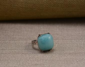 amazonite ring,blue amazonite,oval cabachon,oval stone ring,aqua ring,amazonite jewelry, handmade jewelry,handmade ring--size 5