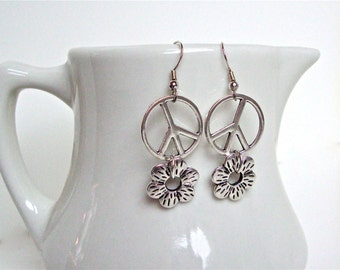 Silver peace sign earrings, peace sign and flower earrings, long modern peace sign jewelry, boho chic earrings by Sparkle City Jewelry