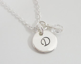 Tiny Sterling Silver Initial Necklace with Swarovski Birthstones - Hand Stamped - Personalized Jewelry - Monogram Necklace