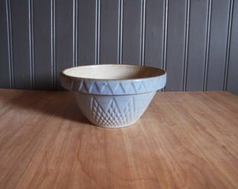 Vintage Small Light Blue Stoneware Pottery Primitive Bowl