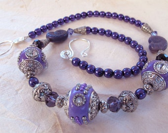 Purple and Silver Beaded Necklace