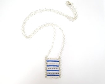 Silver and blue 9 bars necklace
