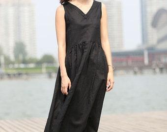 Black linen dress maxi dress summer casual dress  C274