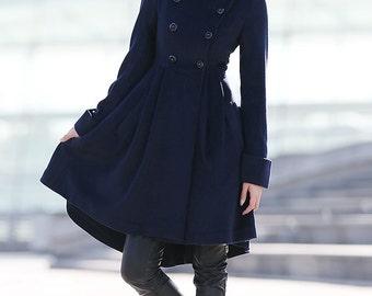 Navy Blue coat winter coats for women C164