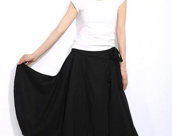 Long Skirt in Black Summer Linen Skirt C334