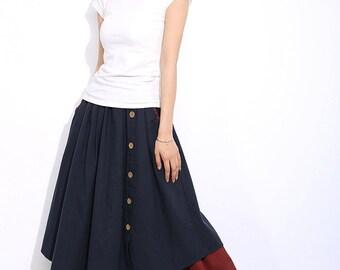 Blue linen skirt women skirt C335