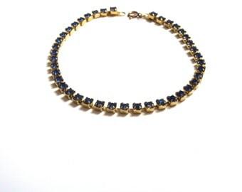 1-20th 14k Gold Filled Blue Rhinestones Tennis Bracelet Inline Bracelet