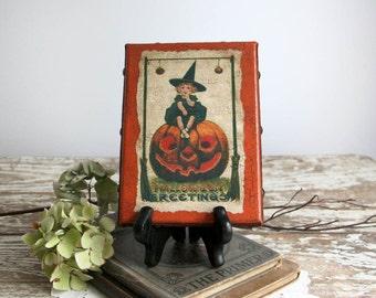 Vintage Style Halloween Decor orange black witch girl canvas frame antiqued country pumpkin 5x7 folk art primitive farmhouse cottage chic