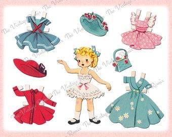 Printable Paper Doll, Instant Download, Retro-Vintage Blonde Girl, Digital Collage Sheet
