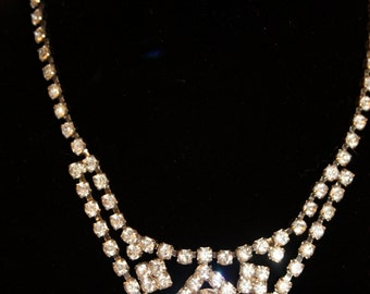 Vintage Rhinestone Necklace Royal Princess or bride