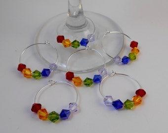 Wine Glass Charms, Chakra Wine Glass Charms, Rainbow Wine Glass Charms, LGBT Wine Glass Charms, LGBT Pride Wine Glass Charms