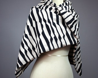 Wavy scarf, Wide scarf, classic shape scarf, scarf wrap, Nude and Black scarf, oblong scarf