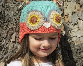 Owl Hat-Toddler/Girls/Womens-Crochet Animal Hat-Beanie-Soft Color Tones
