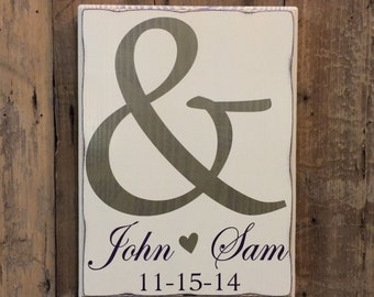 Personalized Wedding Gift, Engagement Gift, Anniversary Gift, Valentines Day, Important Date Custom Wood Sign - Ampersand Edwardian