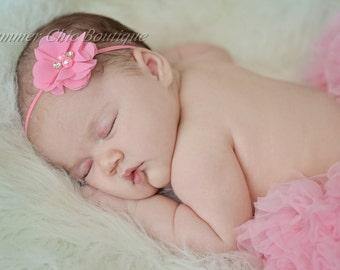 Pink baby headband, Infant Headband, Newborn Headband, Toddler Headband, Pink Chiffon flower Headband