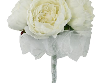 Ivory Silk Peony Hand Tie (6 Peonies) - Bridal Wedding Bouquet
