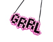 Sparkly Riot GRRL Necklace - Rhinestone Femme Feminist Pendant - Pastel Pink & Black or You Choose Your Custom Colour
