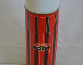 Vintage 1970s Red and Black Striped Thermos Bottle # 2410