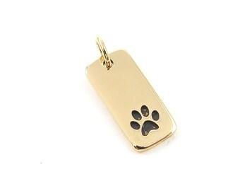 Tiny Gold Paw Print Charm,  Gold Vermeil Paw Print Charm, Bronze Pet Charm, Animal Pendant |NG1-13