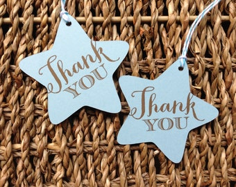 TWINKLE TWINKLE little star Vintage blue Baby Boy thank you favor tags