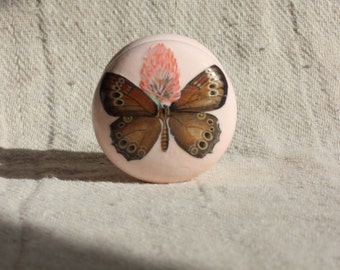 cabinet knobs, shabby chic furniture, decoupage furniture, pale pink dresser knob, pink decor, pink butterfly, knobs, drawer pull, pink knob