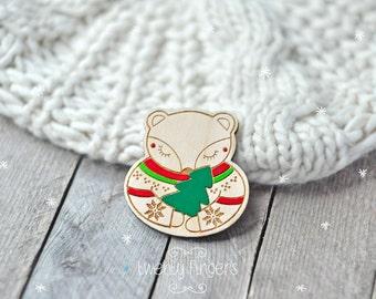 Christmas Winter wood brooch Sleeping bear  - laser cut & hand painted