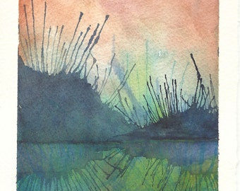 Original Watercolour Abstract Landscape Painting - Lake Art - Blue - Green - Pink
