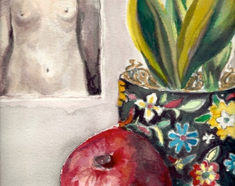 Still Life Watercolour - Black and White Nude - Figurative Painting - Pomegranate Art - Red - Green - Yellow - Square - 10 x 10