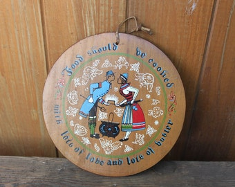 Vintage Folksy Kitchen Wooden Wall Plate
