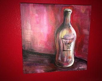 Painting - Vino - Wine -  original painting wine bottle study