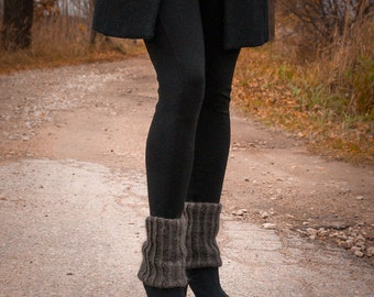 Mohair Hand Knit Boot toppers Boot Cuffs Legwarmers Women's boot cuffs Winter Fashion Gift for her Charcoal Legwarmers Fluffy socks For girl