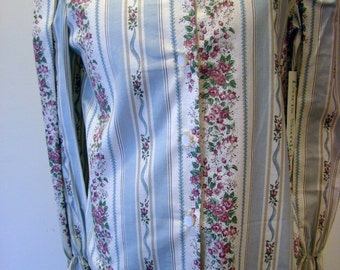 Girls Blouse in White with Dusty Rose Floral and Light Blue Stripes   - Sizes 10 and 12