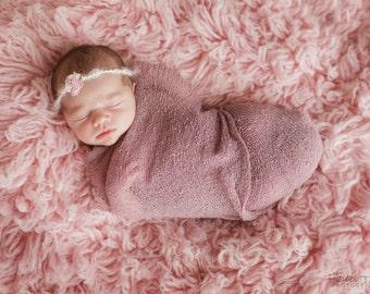 Newborn Halo Headband Light Pink Simple Organic Style Dainty Flower Tie Back Shabby Vintage Photography Prop
