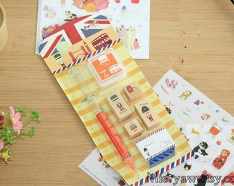 I Love London Series Rubber Stamp and Ink Pad  Set - Wood Stamp - Diary Stamps - filofax - STYLE 1