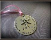 custom baby ornament 1st christmas ornament new baby ornament new mom gift baby shower gift 2014 ornament snowflake ornament