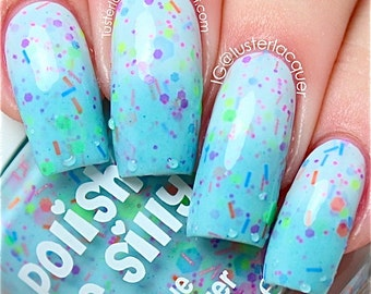Get Breezy- -Color Changing Thermal Nail Polish:  Custom-Blended Indie Glitter Nail Polish / Lacquer