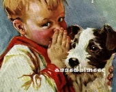 A Boy and his Dog - Restored Art Print - Sharing Secrets With His Best Friend - Great Baby Boy Gift -
