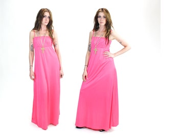 1970s Neon Pink Psychedelic Maxi Dress