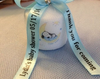 30 Snoopy like Themed Baby Shower,  Shower Favors,Nautical Themed Party favors, Votive  CandleWith Personalized Ribbon
