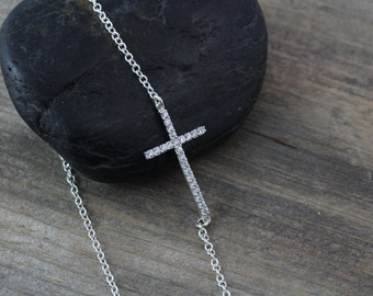Cubic Zirconia Sterling silver Cross Necklace, Cross jewelry, Side Cross Necklace, CZ Cross Necklace, Horizontal Cross Necklace,