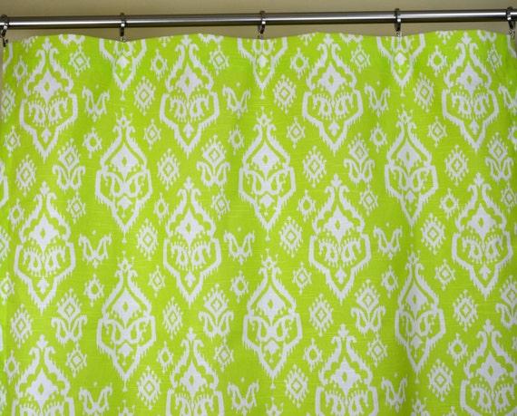 Lime Green White Southwestern Ikat Raji Curtains - Rod Pocket - 84 96 ...