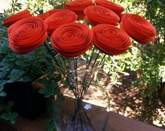 Paper Flower Bouquet - Handmade Orange Paper Flower Bouquet for Weddings, Fall, Autumn, Brides, Weddings, Showers, Birthdays