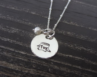 Hand Stamped Tree Stump Necklace with Initials-Sweethearts Necklace with Carved Initials in Tree Trunk with Pearl