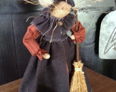 Corrina Cackle Primitive Mouse Witch and her Wheelbarrow of pumpkins