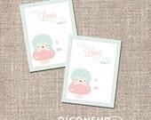 Hedgehog Scripture Valentine's Day Kids Classroom Card - Instant Download - Printable DIY - Boy Girl