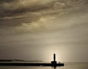 Frankfort Lake Michigan Lighthouse, Pier Photo, Pure Michigan Photography, Lake Michigan, Fine Art, Lighthouse, Photograph