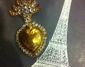 Antique French Brass and Rhinestone Sacred Flaming Heart Ex Voto Reliquary