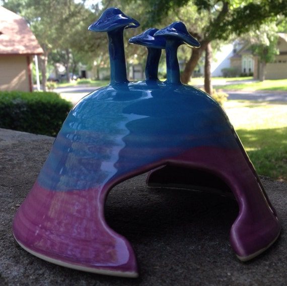 Toad House in Blue & Purple Porcelain